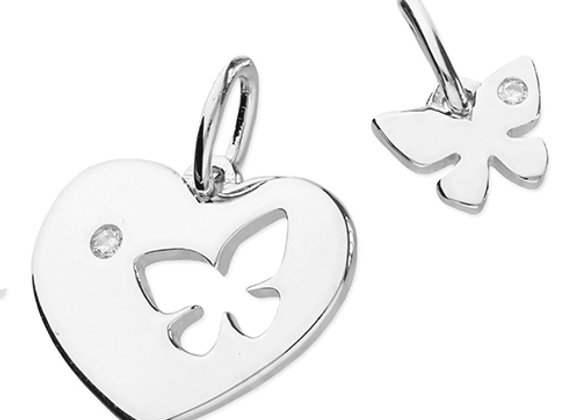 Mother & Daughter Butterfly Heart Necklace