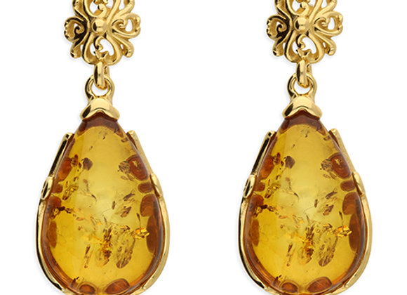 Gold Amber Earrings with floral detail