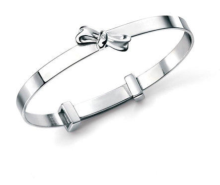 Diamond & Solid Sterling Silver Bow Baby Bangle