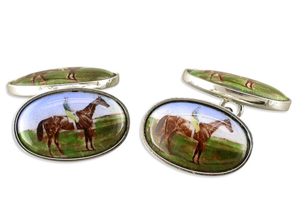 Miniature Painting Style Horse Cufflinks