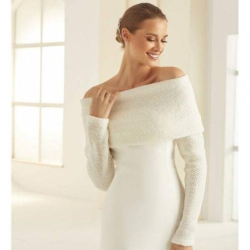 Ivory Wool Off the Shoulder Bridal Shrug