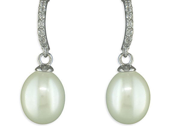 Wave Bar Pearl Drop Earrings