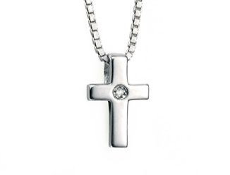 Delicate Cross Necklace with Diamond