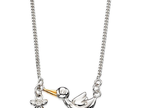 Diamond & Solid Sterling Silver Stork Arrival Necklace