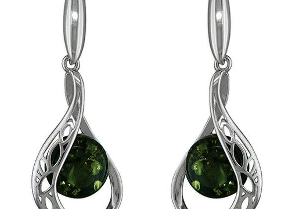 Green Amber Earrings