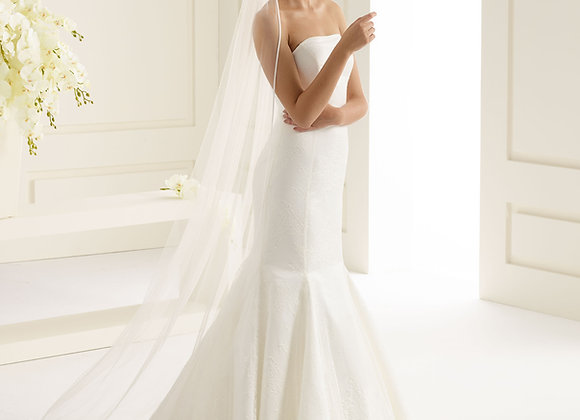 Roma - satin edge 220 cm veil with blusher