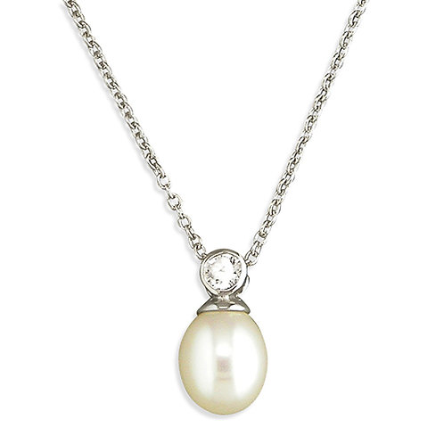 Pearl and Cubic Zirconia Necklace