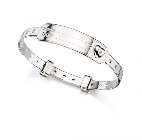 Solid Sterling Silver Baby Hospital-Style Bangle