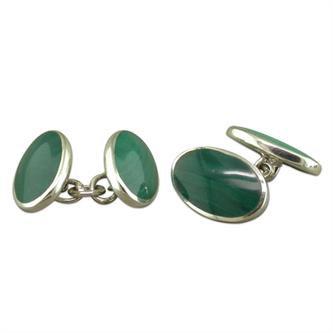 Double Oval Malachite Cufflinks