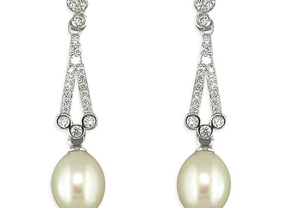 Art Deco Style Pearl Drop Earrings