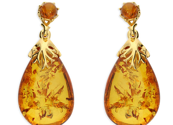 Large Oval Drop Amber Earrings