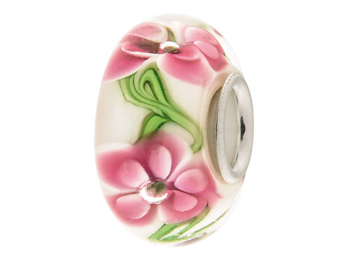 Pink Peonies Silver and Glass Charm Bead
