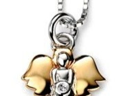 Diamond & Solid Sterling Silver Children's Angel Necklace