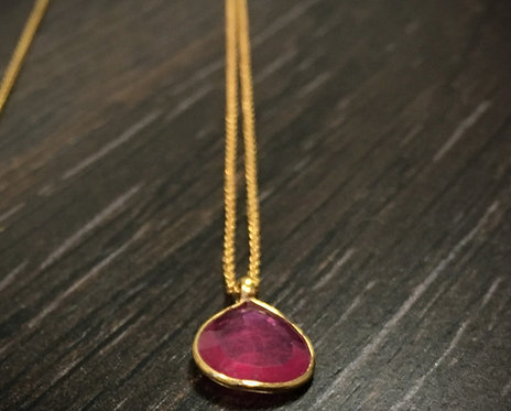 Handmade Fine Gold Ruby Statement Necklace