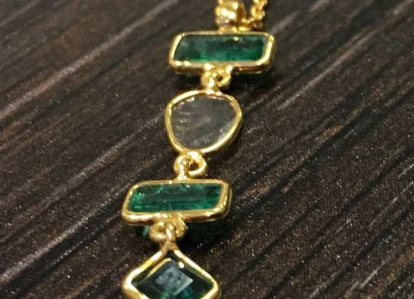 Emeralds with a slice of Diamond Drop Necklace