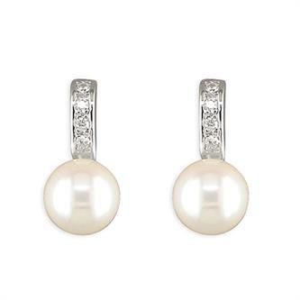 Cubic Zirconia Bar & Pearl Earrings