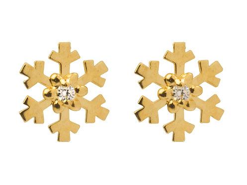 9ct Gold Snowflake Studs