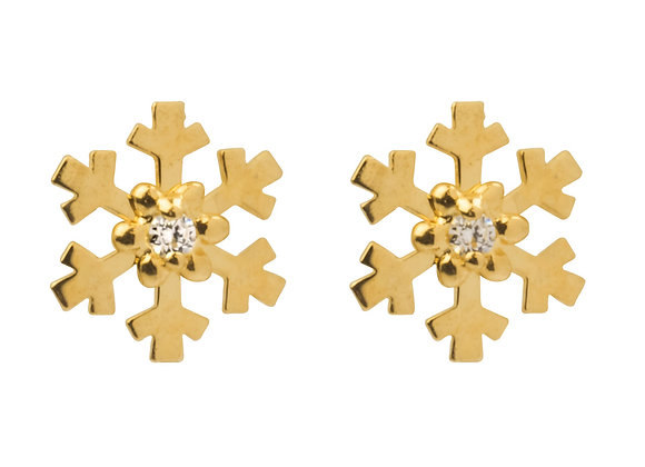 9ct Gold Snowflake Studs
