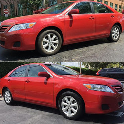 Look at the difference the wax makes! Making cars look brand new again!
