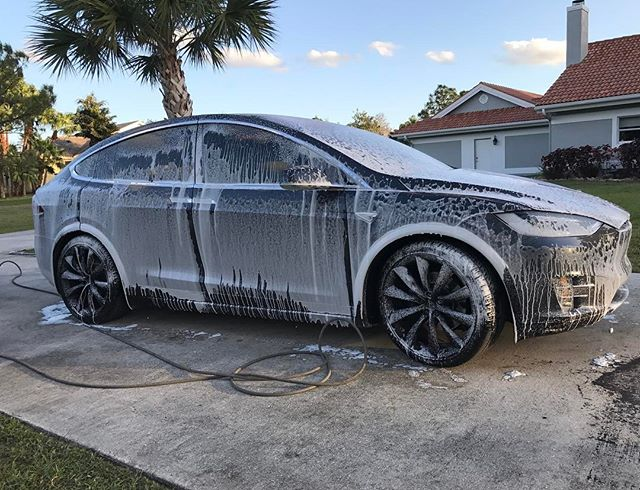 New Tesla soaking in our new foam system