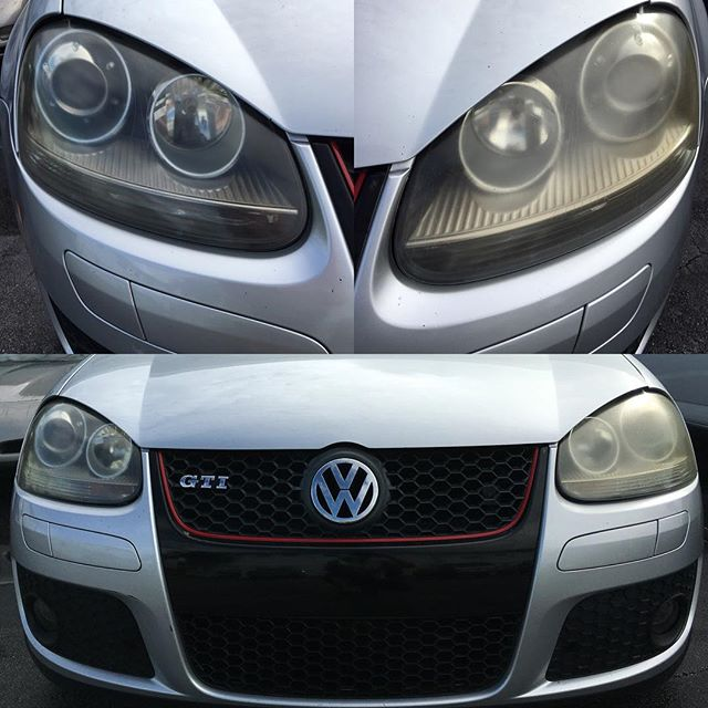 Right headlight- Faded by the sun Left headlight- Cleaned & Polished.  Only $15