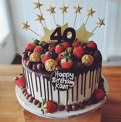 """Strawberries and Stars Drip Cake - 8"""" Round Cake"""