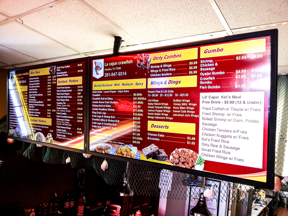 LA Cajun Crawfish Digital Menus