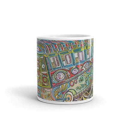 Bus supporting art Mug by Zahra Ali
