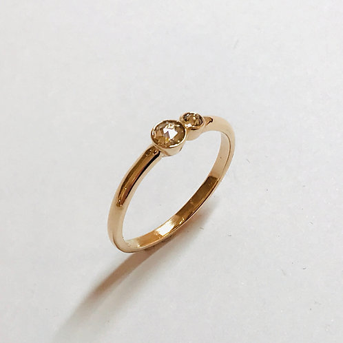 Luna Champagne Diamond 2 Stone Ring