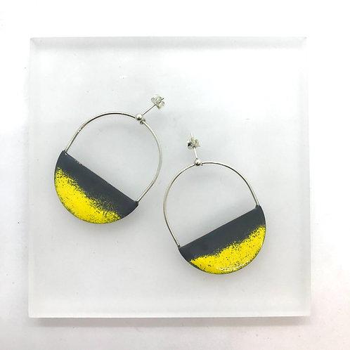 Dusk Hoops - grey/yellow earrings