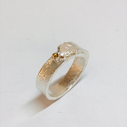 Silver Gold Band Ring by Natalie Salisbury
