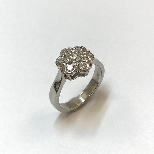 Modern Cluster Diamond Platinum Ring