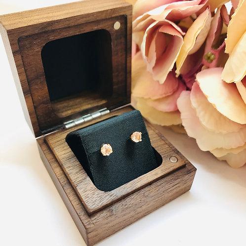 Morganite Rose Gold Stud Earrings