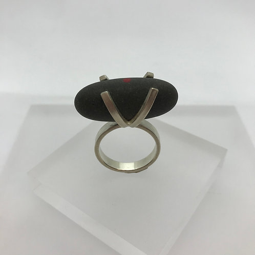 Red Dot  Pebble Ring