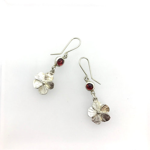 Wild Rose earrings with garnets