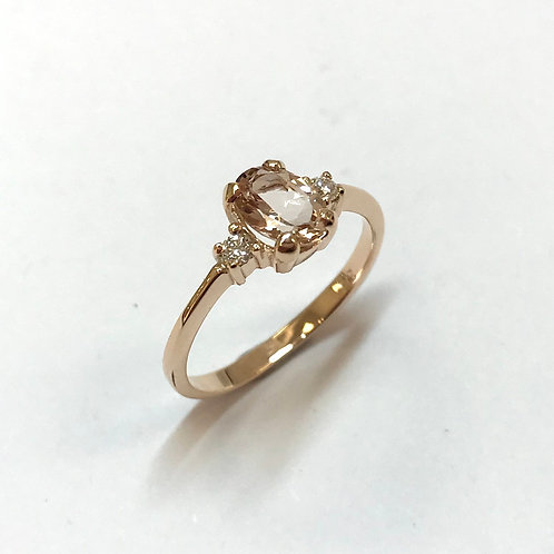 Morganite Diamond Rose Gold Ring