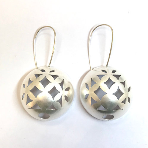Silver Cut Out Earrings by Kay Turner