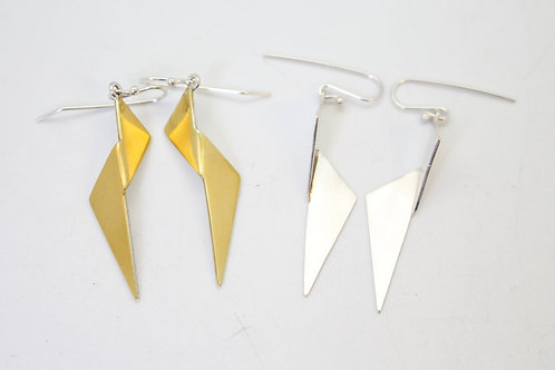 Folded Long Triangle Earrings by KMD