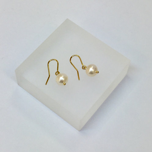 White Pearl Hook Earrings by Kiri Schumacher