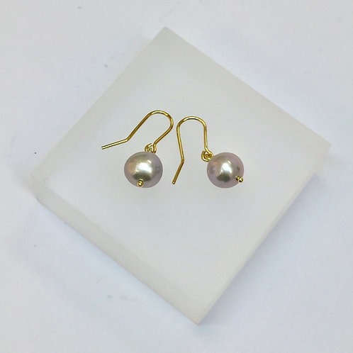 Grey Pearl Hook Earrings by Kiri Schumacher