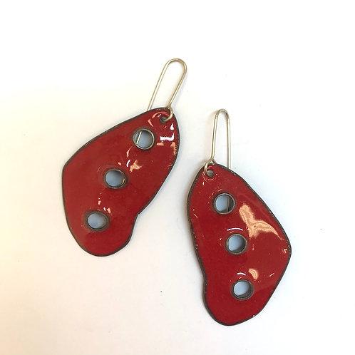 Thee holes - enamel earrings