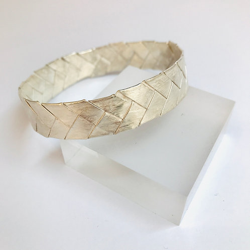 Silver Plait Bangle by Phillipa Gee