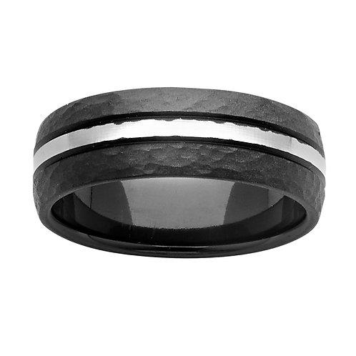 Black and White Zirconium Mens Ring