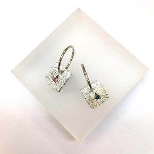 Square Disco Earrings - Sapphire