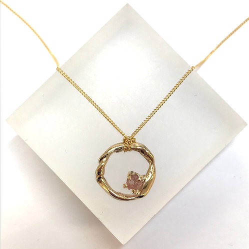 Get Knotted Pink Sapphire Gold Necklace