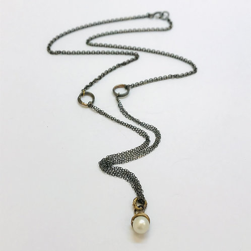Pearl and fused gold pendant by Natalie Salisbury
