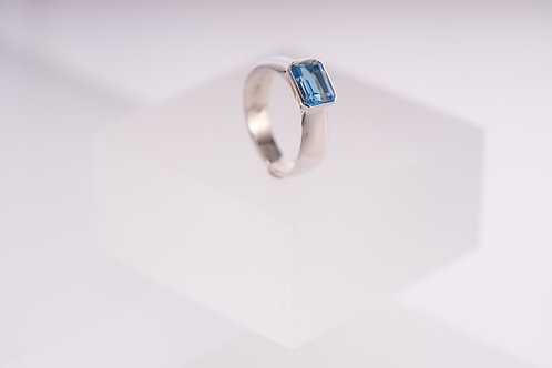 Sideways Topaz Silver Ring