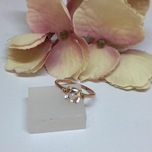 Cushion Morganite & Diamond Ring