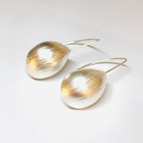 Silver Creased Paper Shell Earrings by Kay Turner