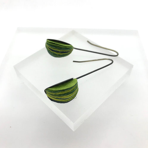 Green, Round drop Earrings